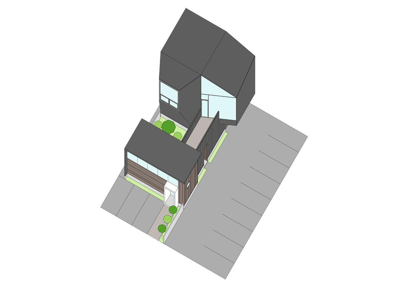 中庭を囲む店舗(CAFE)併用住宅